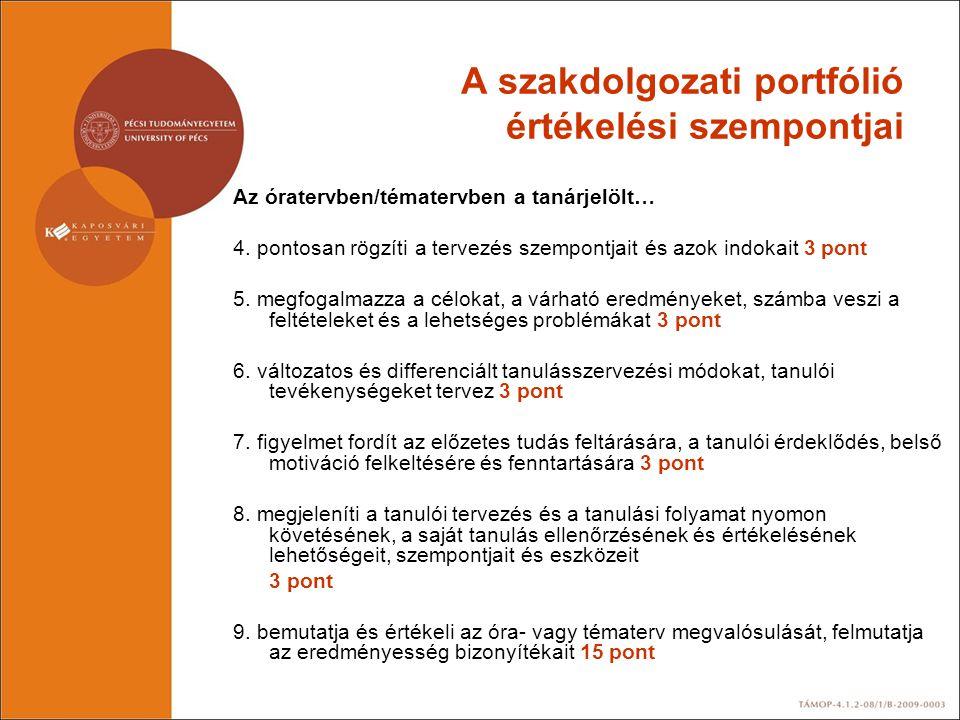 A szakdolgozati portfólió értékelési szempontjai Az óratervben/tématervben a tanárjelölt… 4. pontosan rögzíti a tervezés szempontjait és azok indokait