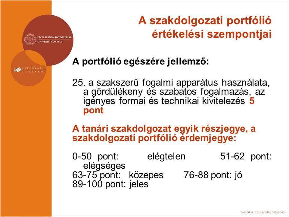 A szakdolgozati portfólió értékelési szempontjai A portfólió egészére jellemző: 25. a szakszerű fogalmi apparátus használata, a gördülékeny és szabato