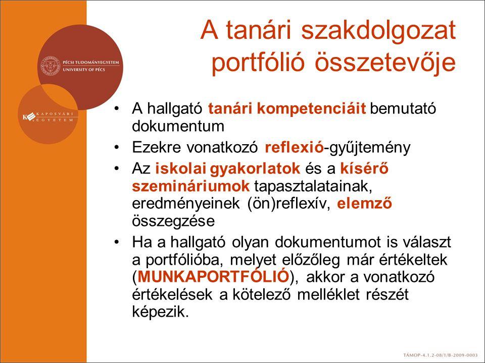 A tanári szakdolgozat portfólió összetevője •A hallgató tanári kompetenciáit bemutató dokumentum •Ezekre vonatkozó reflexió-gyűjtemény •Az iskolai gya