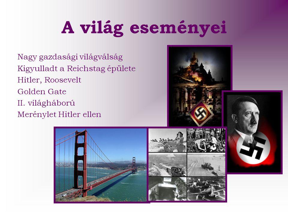 A világ eseményei Nagy gazdasági világválság Kigyulladt a Reichstag épülete Hitler, Roosevelt Golden Gate II. világháború Merénylet Hitler ellen