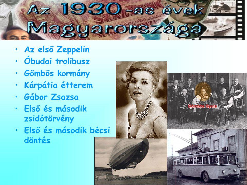 •Az első Zeppelin •Óbudai trolibusz •Gömbös kormány •Kárpátia étterem •Gábor Zsazsa •Első és második zsidótörvény •Első és második bécsi döntés