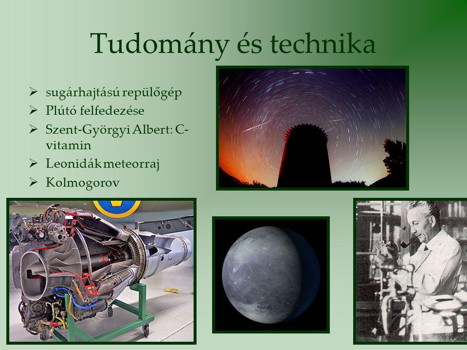 Tudomány és technika  sugárhajtású repülőgép  Plútó felfedezése  Szent-Györgyi Albert: C- vitamin  Leonidák meteorraj  Kolmogorov