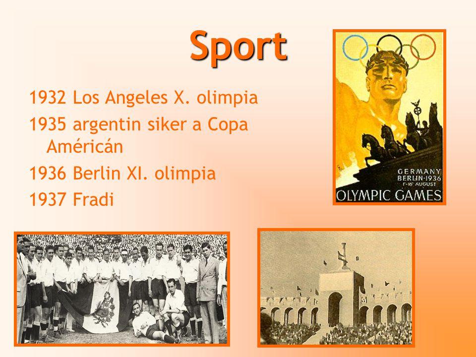 Sport 1932 Los Angeles X. olimpia 1935 argentin siker a Copa Américán 1936 Berlin XI. olimpia 1937 Fradi
