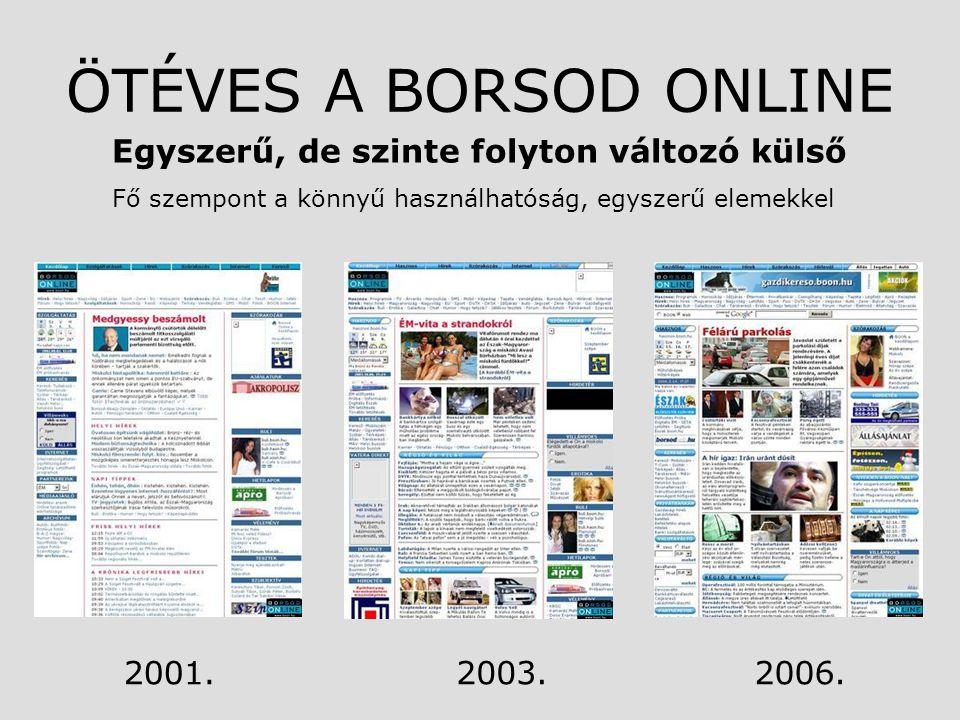 ÖTÉVES A BORSOD ONLINE Egyszerű, de szinte folyton változó külső Fő szempont a könnyű használhatóság, egyszerű elemekkel 2006.