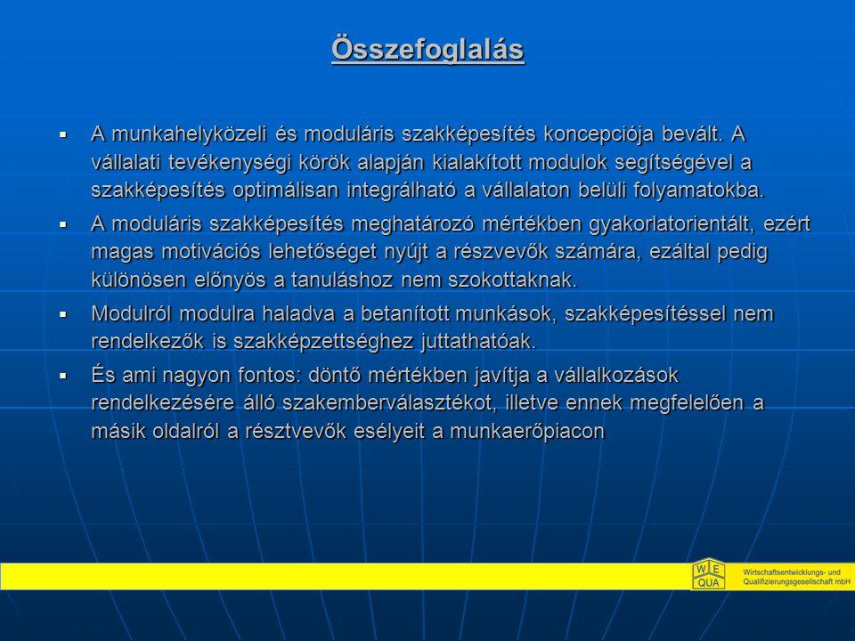 Összefoglalás  A munkahelyközeli és moduláris szakképesítés koncepciója bevált. A vállalati tevékenységi körök alapján kialakított modulok segítségév