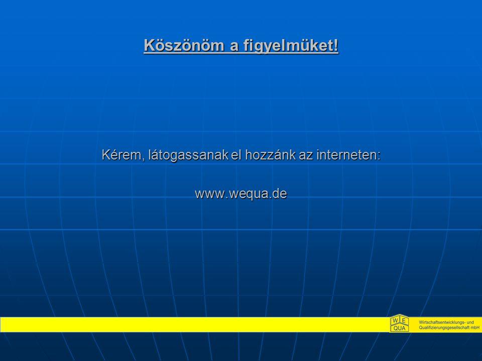 Köszönöm a figyelmüket! Kérem, látogassanak el hozzánk az interneten: www.wequa.de