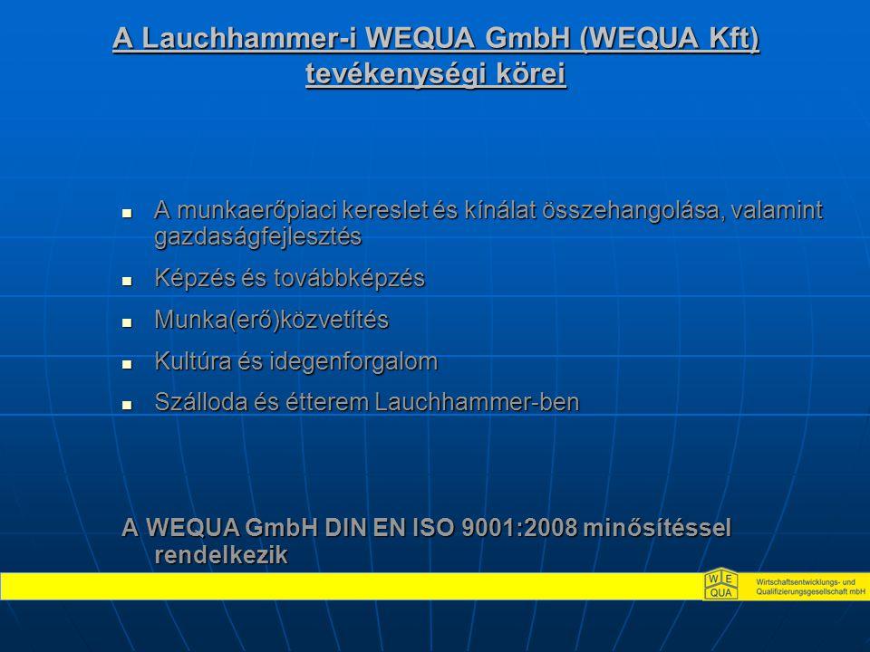 A Lauchhammer-i WEQUA GmbH (WEQUA Kft) tevékenységi körei  A munkaerőpiaci kereslet és kínálat összehangolása, valamint gazdaságfejlesztés  Képzés é
