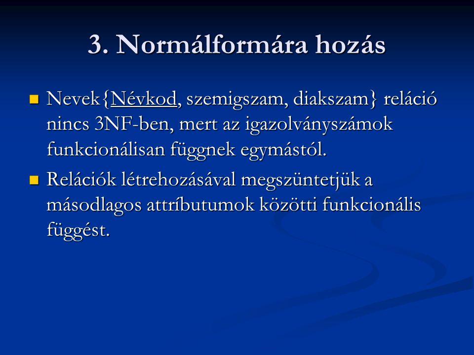 3. Normálformára hozás  Nevek{Névkod, szemigszam, diakszam} reláció nincs 3NF-ben, mert az igazolványszámok funkcionálisan függnek egymástól.  Relác