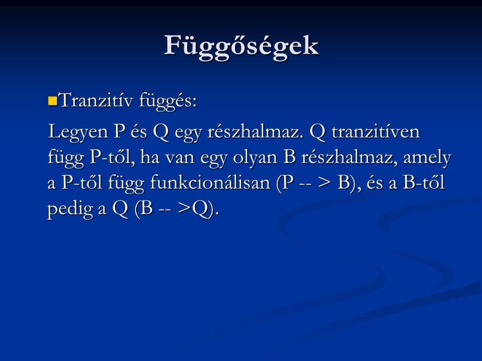 Függőségek  Tranzitív függés: Legyen P és Q egy részhalmaz.