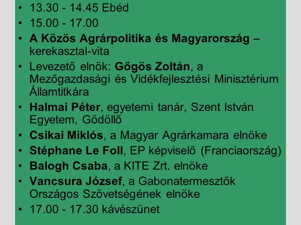 •17.45 - 19.45 Szekcióülések •I.