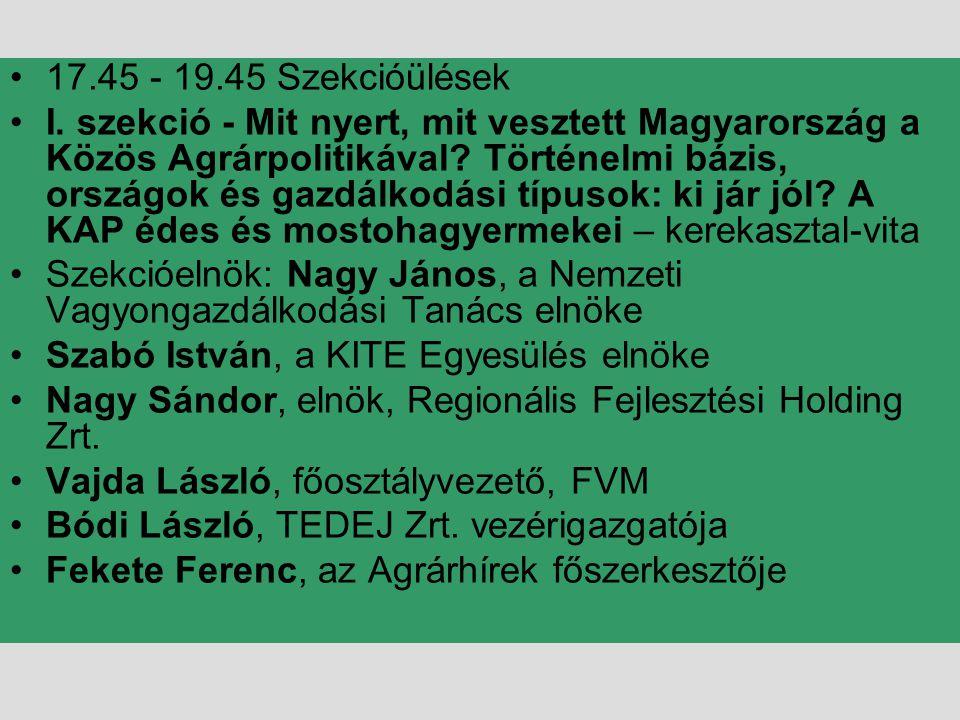 •17.45 - 19.45 Szekcióülések •I. szekció - Mit nyert, mit vesztett Magyarország a Közös Agrárpolitikával? Történelmi bázis, országok és gazdálkodási t