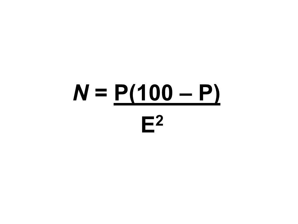 N = P(100 – P) E 2