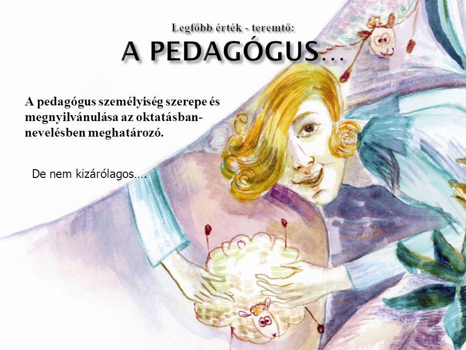 A pedagógus személyiség szerepe és megnyilvánulása az oktatásban- nevelésben meghatározó. De nem kizárólagos….