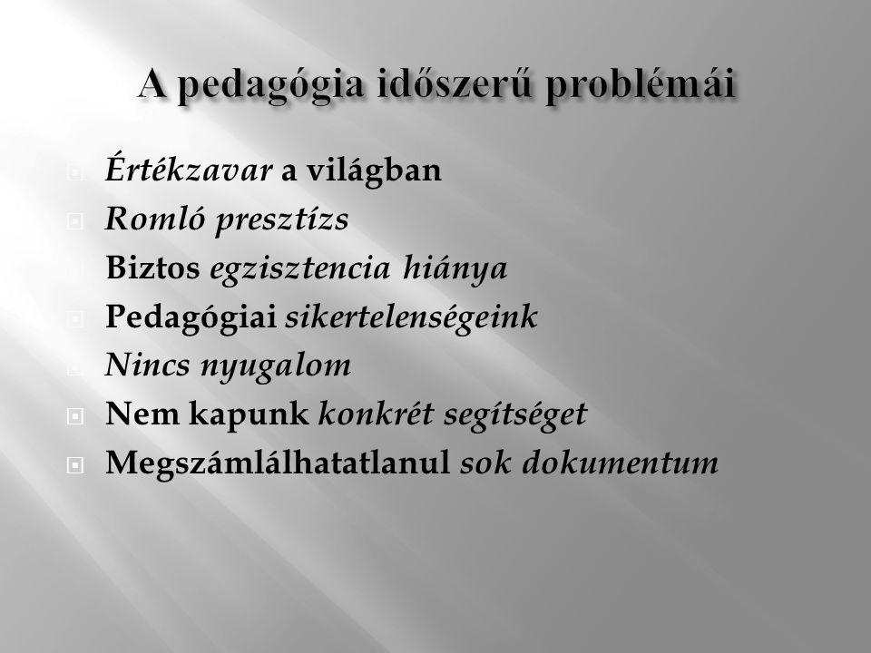  Értékzavar a világban  Romló presztízs  Biztos egzisztencia hiánya  Pedagógiai sikertelenségeink  Nincs nyugalom  Nem kapunk konkrét segítséget