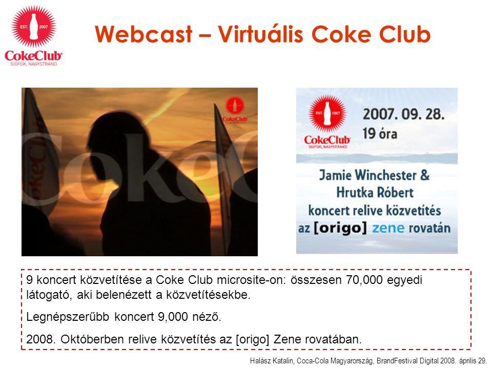 Webcast – Virtuális Coke Club Halász Katalin, Coca-Cola Magyarország, BrandFestival Digital 2008.