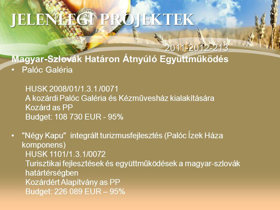 JELENLEGI PROJEKTEK 2011-2012-213 Magyar-Szlovák Határon Átnyúló Együttműködés •Palóc Galéria HUSK 2008/01/1.3.1 /0071 A kozárdi Palóc Galéria és Kézm