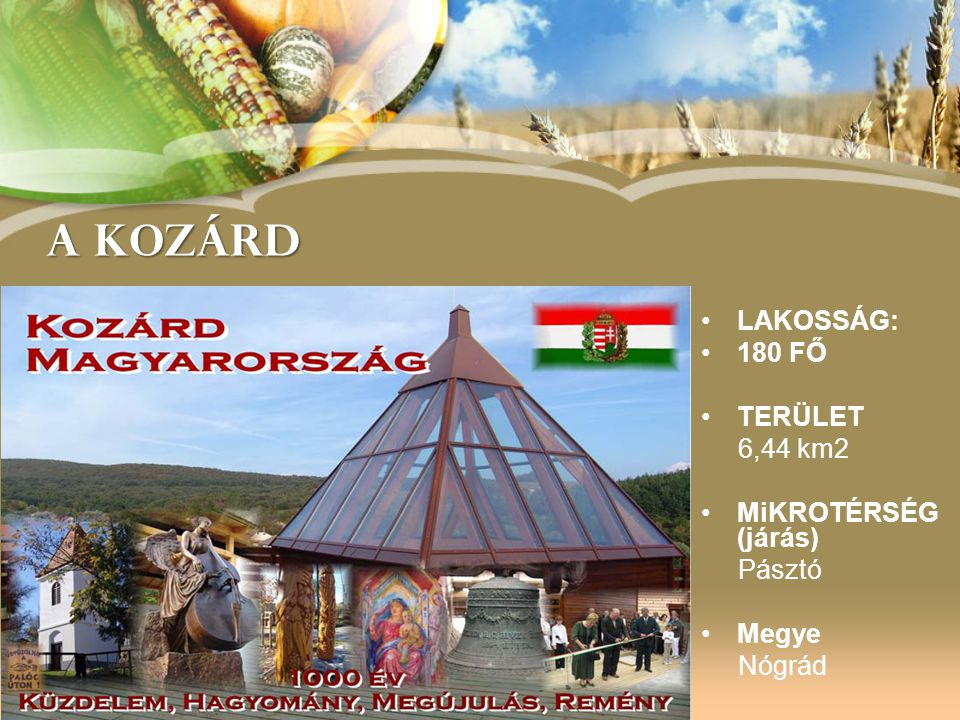 Local Goverment of Kozárd Developments to increase cultural and spiritual tourism •Palóc Gallery (HU-SK CBC) •Village Center and Chapel (AVOP) •Saint Mary Statue •St.