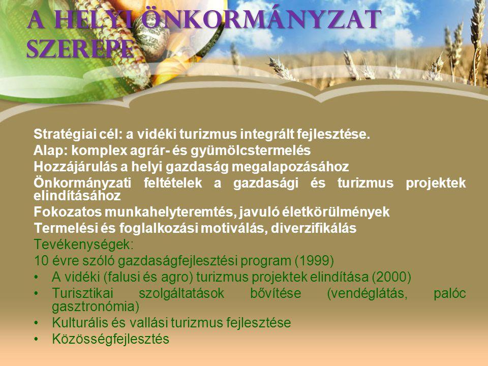 A HELYI ÖNKORMÁNYZAT SZEREPE Stratégiai cél: a vidéki turizmus integrált fejlesztése. Alap: komplex agrár- és gyümölcstermelés Hozzájárulás a helyi ga