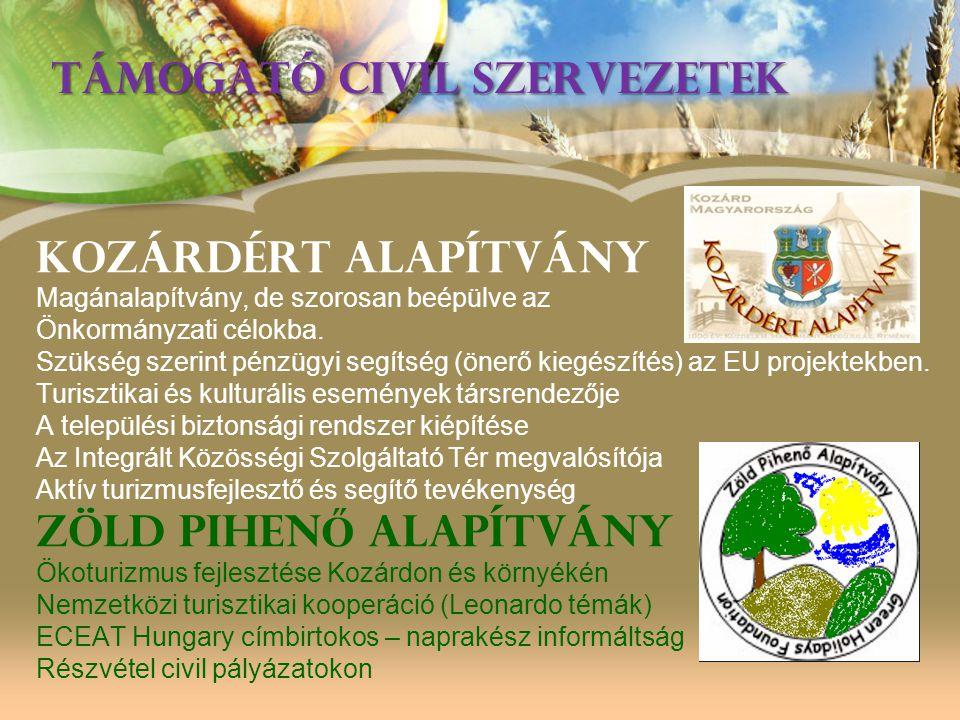 TÁMOGATÓ CIVIL SZERVEZETEK Kozárdért Alapítvány Magánalapítvány, de szorosan beépülve az Önkormányzati célokba. Szükség szerint pénzügyi segítség (öne