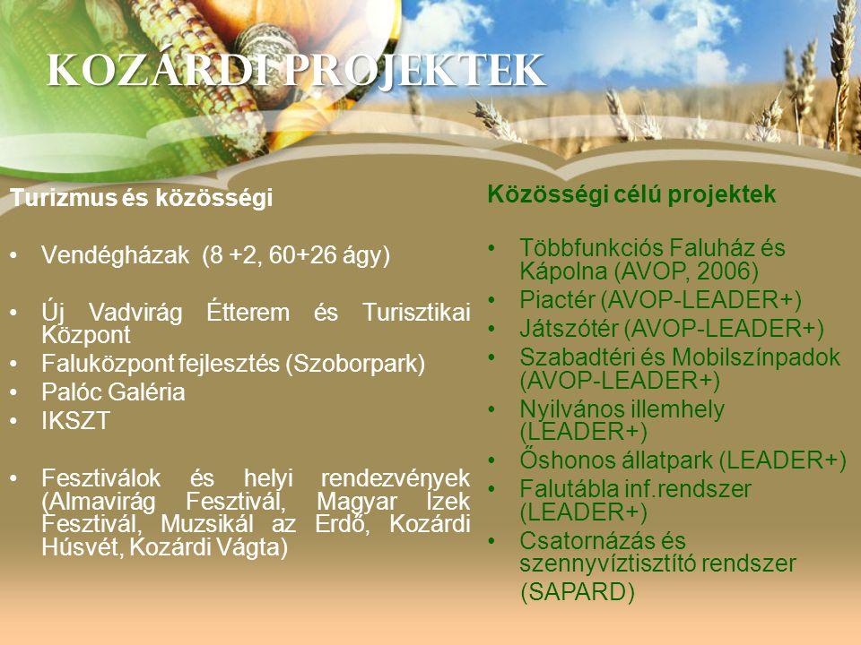 KOZÁRDI PROJEKTEK Turizmus és közösségi •Vendégházak (8 +2, 60+26 ágy) •Új Vadvirág Étterem és Turisztikai Központ •Faluközpont fejlesztés (Szoborpark