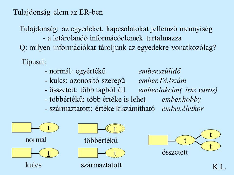 Tulajdonság elem az ER-ben K.L. Tulajdonság: az egyedeket, kapcsolatokat jellemző mennyiség - a letárolandó informácóelemek tartalmazza Q: milyen info