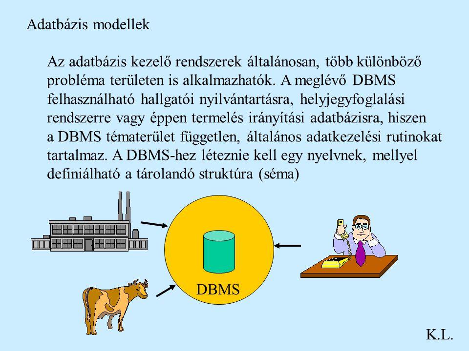 Adatbázis modellek K.L. Az adatbázis kezelő rendszerek általánosan, több különböző probléma területen is alkalmazhatók. A meglévő DBMS felhasználható