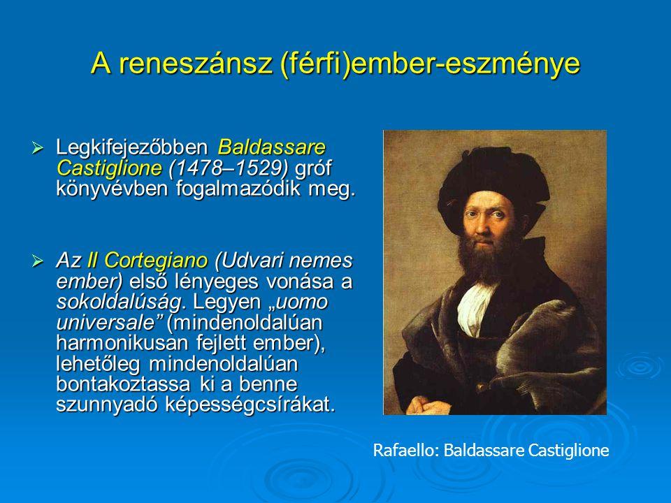 A reneszánsz (férfi)ember-eszménye  Legkifejezőbben Baldassare Castiglione (1478–1529) gróf könyvévben fogalmazódik meg.  Az Il Cortegiano (Udvari n