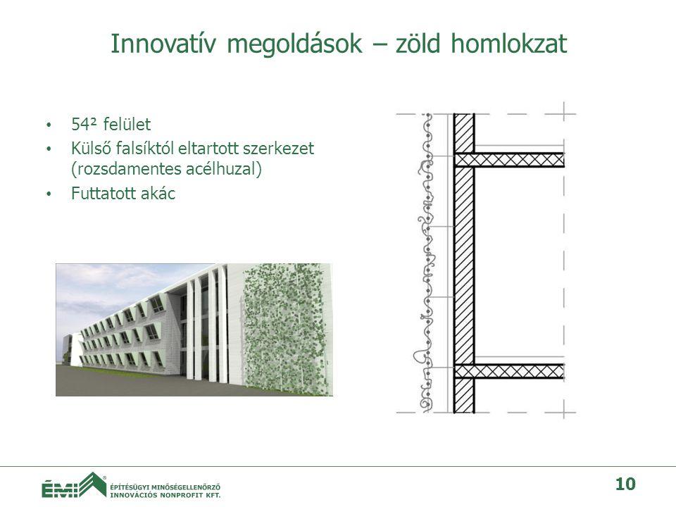 Innovatív megoldások – zöld homlokzat • 54² felület • Külső falsíktól eltartott szerkezet (rozsdamentes acélhuzal) • Futtatott akác 10