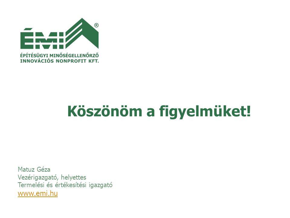 Matuz Géza Vezérigazgató, helyettes Termelési és értékesítési igazgató www.emi.hu Köszönöm a figyelmüket!