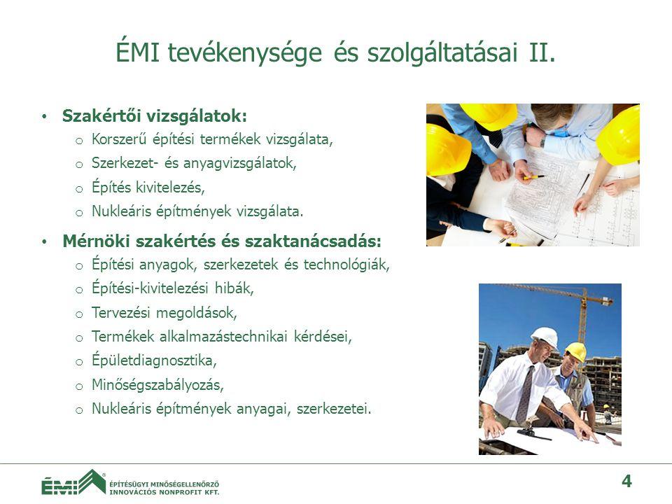 ÉMI tevékenysége és szolgáltatásai II.