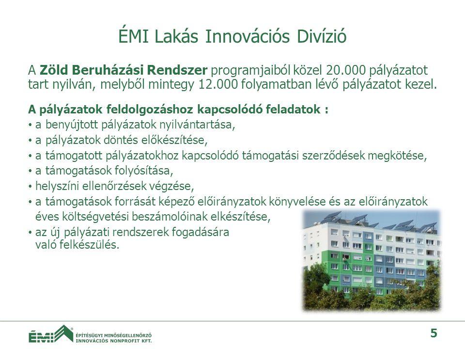 ÉMI Lakás Innovációs Divízió A Zöld Beruházási Rendszer programjaiból közel 20.000 pályázatot tart nyilván, melyből mintegy 12.000 folyamatban lévő pályázatot kezel.