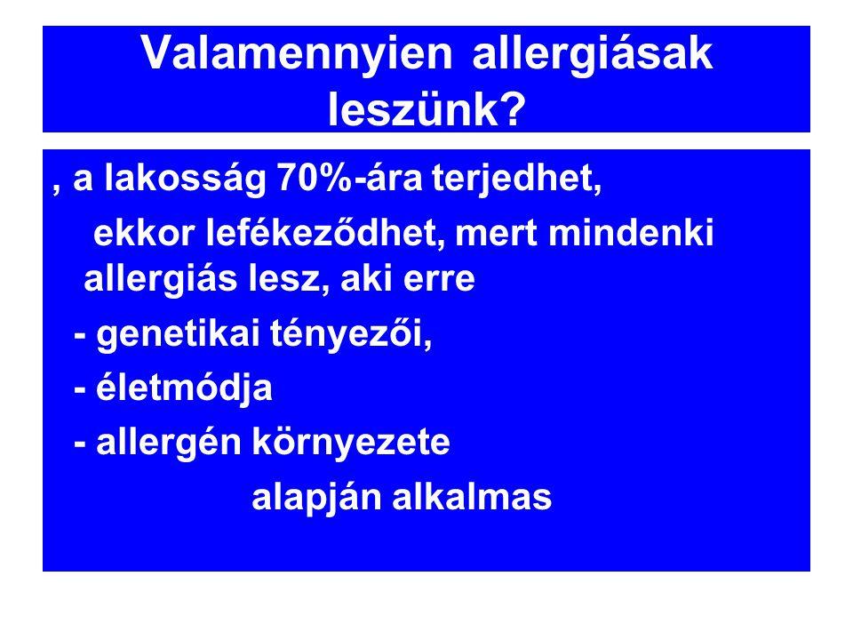 Valamennyien allergiásak leszünk?, a lakosság 70%-ára terjedhet, ekkor lefékeződhet, mert mindenki allergiás lesz, aki erre - genetikai tényezői, - él