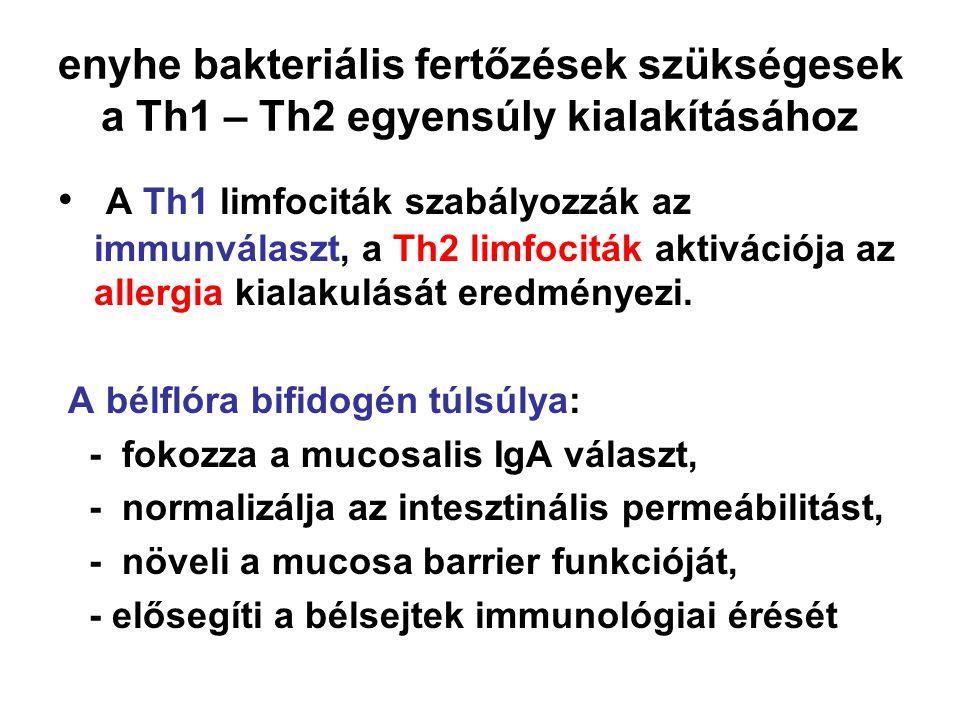 enyhe bakteriális fertőzések szükségesek a Th1 – Th2 egyensúly kialakításához • A Th1 limfociták szabályozzák az immunválaszt, a Th2 limfociták aktivá