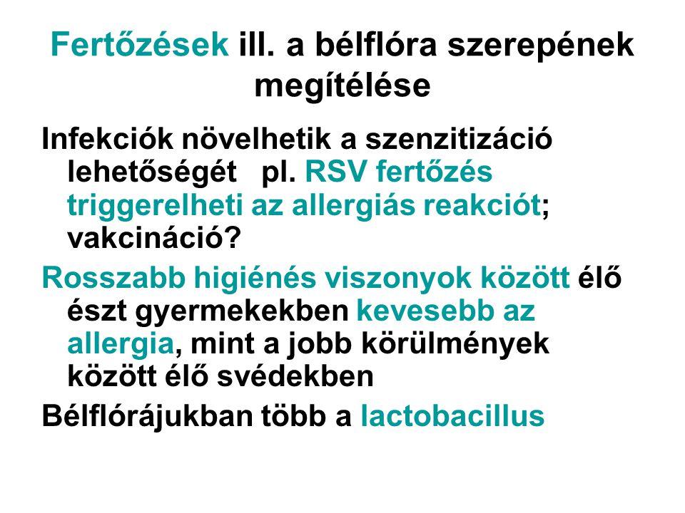 Fertőzések ill. a bélflóra szerepének megítélése Infekciók növelhetik a szenzitizáció lehetőségét pl. RSV fertőzés triggerelheti az allergiás reakciót