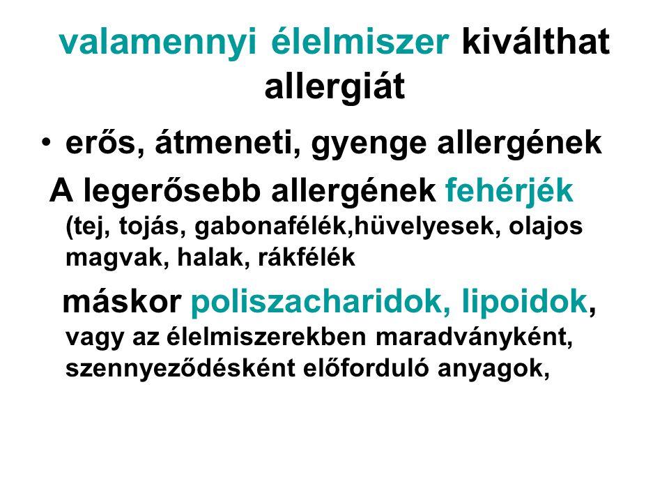 valamennyi élelmiszer kiválthat allergiát •erős, átmeneti, gyenge allergének A legerősebb allergének fehérjék (tej, tojás, gabonafélék,hüvelyesek, ola