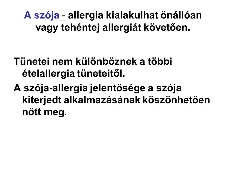 A szója - allergia kialakulhat önállóan vagy tehéntej allergiát követően. Tünetei nem különböznek a többi ételallergia tüneteitől. A szója-allergia je