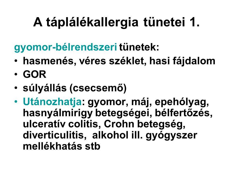 A táplálékallergia tünetei 1. gyomor-bélrendszeri tünetek: •hasmenés, véres széklet, hasi fájdalom •GOR •súlyállás (csecsemő) •Utánozhatja: gyomor, má
