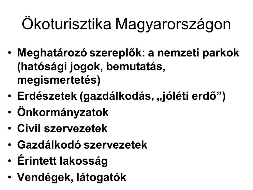 """Ökoturisztika Magyarországon •Meghatározó szereplők: a nemzeti parkok (hatósági jogok, bemutatás, megismertetés) •Erdészetek (gazdálkodás, """"jóléti erdő ) •Önkormányzatok •Civil szervezetek •Gazdálkodó szervezetek •Érintett lakosság •Vendégek, látogatók"""