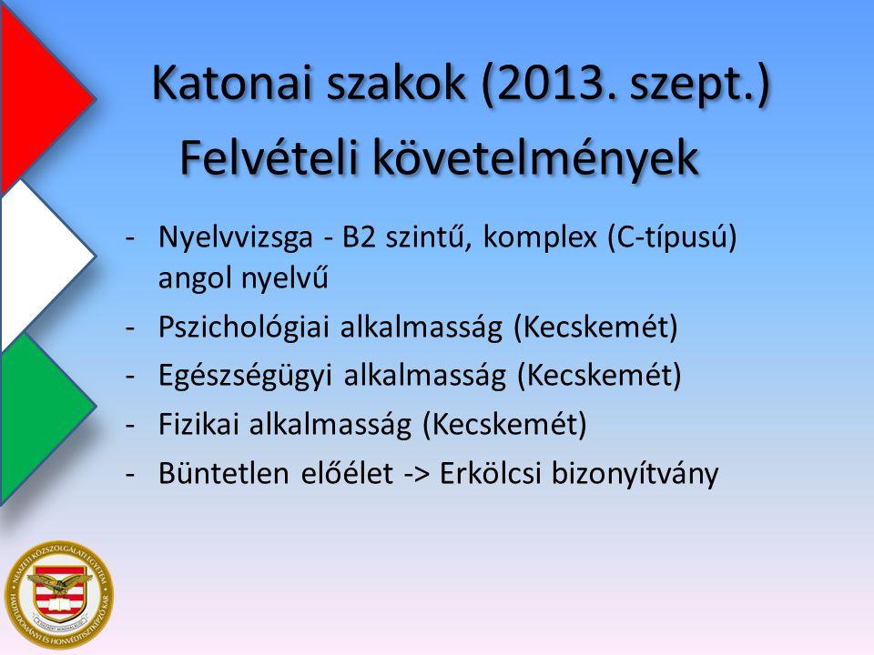 Felvételi követelmények -Nyelvvizsga - B2 szintű, komplex (C-típusú) angol nyelvű -Pszichológiai alkalmasság (Kecskemét) -Egészségügyi alkalmasság (Ke