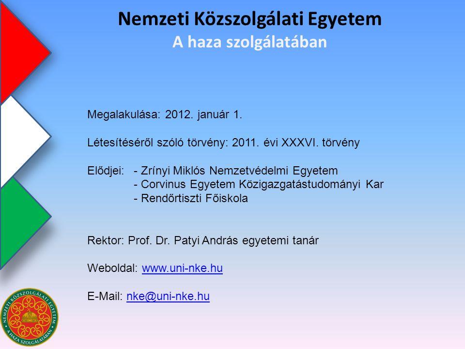 Nemzeti Közszolgálati Egyetem HADTUDOMÁNYI ÉS HONVÉDTISZTKÉPZŐ KARHADTUDOMÁNYI ÉS HONVÉDTISZTKÉPZŐ KAR (HHK) Nemzeti Közszolgálati Egyetem A haza szolgálatában KAMPUSZOK: - 1101 Budapest, X.