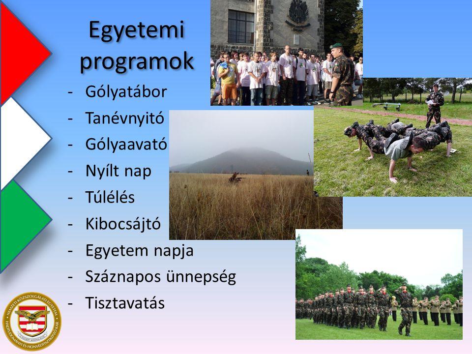 Egyetemi programok -Gólyatábor -Tanévnyitó -Gólyaavató -Nyílt nap -Túlélés -Kibocsájtó -Egyetem napja -Száznapos ünnepség -Tisztavatás