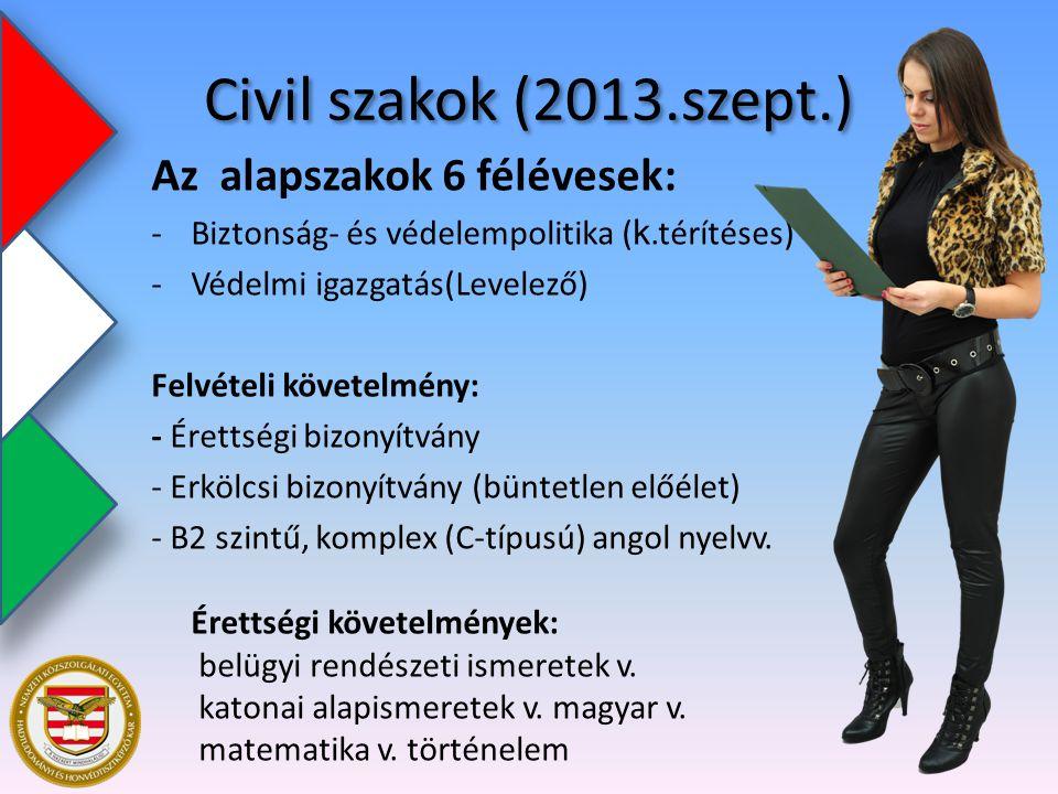 Civil szakok (2013.szept.) Az alapszakok 6 félévesek: -Biztonság- és védelempolitika ( k.térítéses) -Védelmi igazgatás(Levelező) Felvételi követelmény