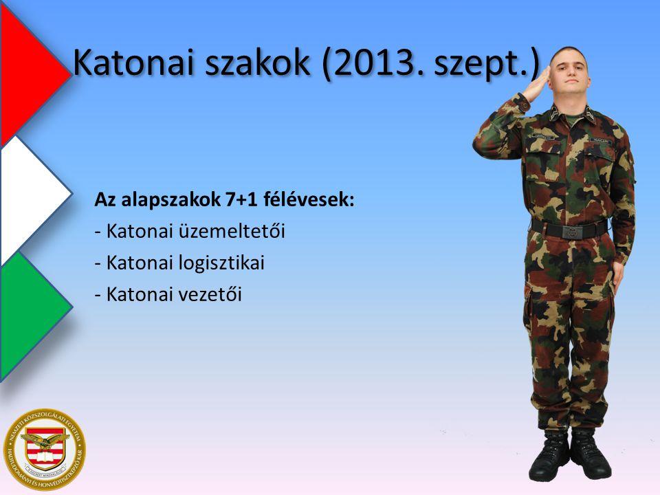 Katonai szakok (2013. szept.) Az alapszakok 7+1 félévesek: - Katonai üzemeltetői - Katonai logisztikai - Katonai vezetői