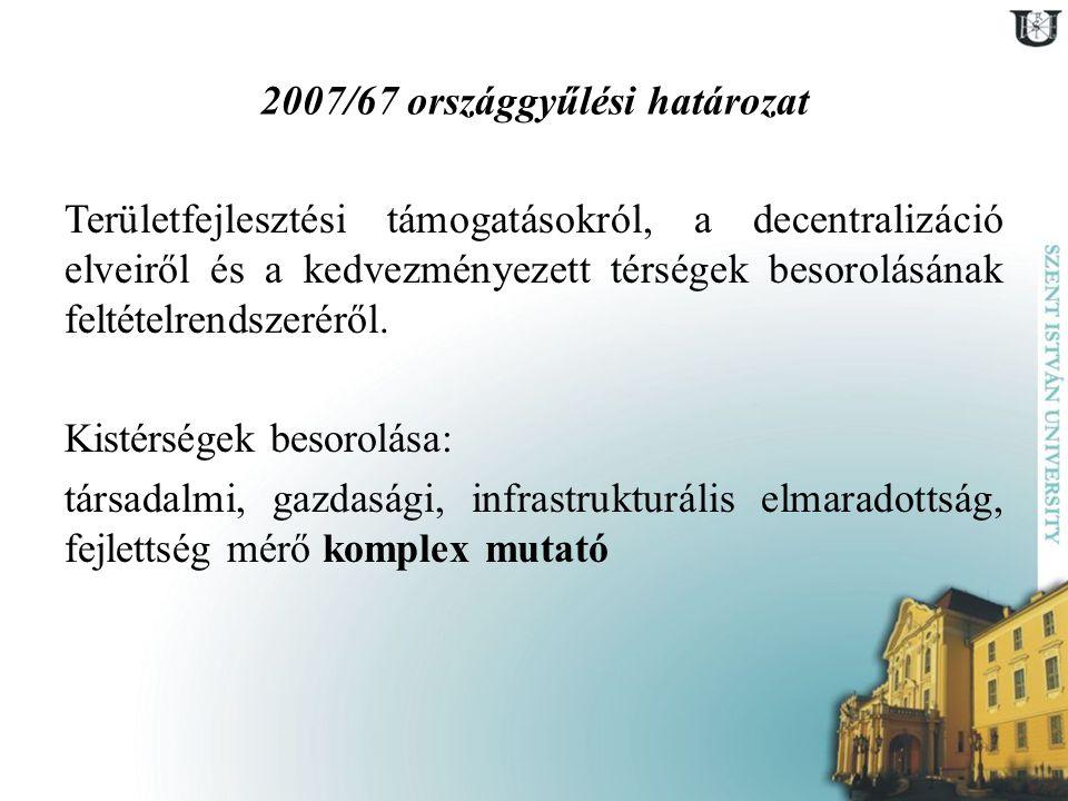 2007/67 országgyűlési határozat Területfejlesztési támogatásokról, a decentralizáció elveiről és a kedvezményezett térségek besorolásának feltételrend