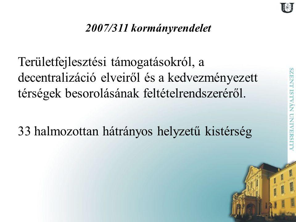 2007/311 kormányrendelet Területfejlesztési támogatásokról, a decentralizáció elveiről és a kedvezményezett térségek besorolásának feltételrendszerérő