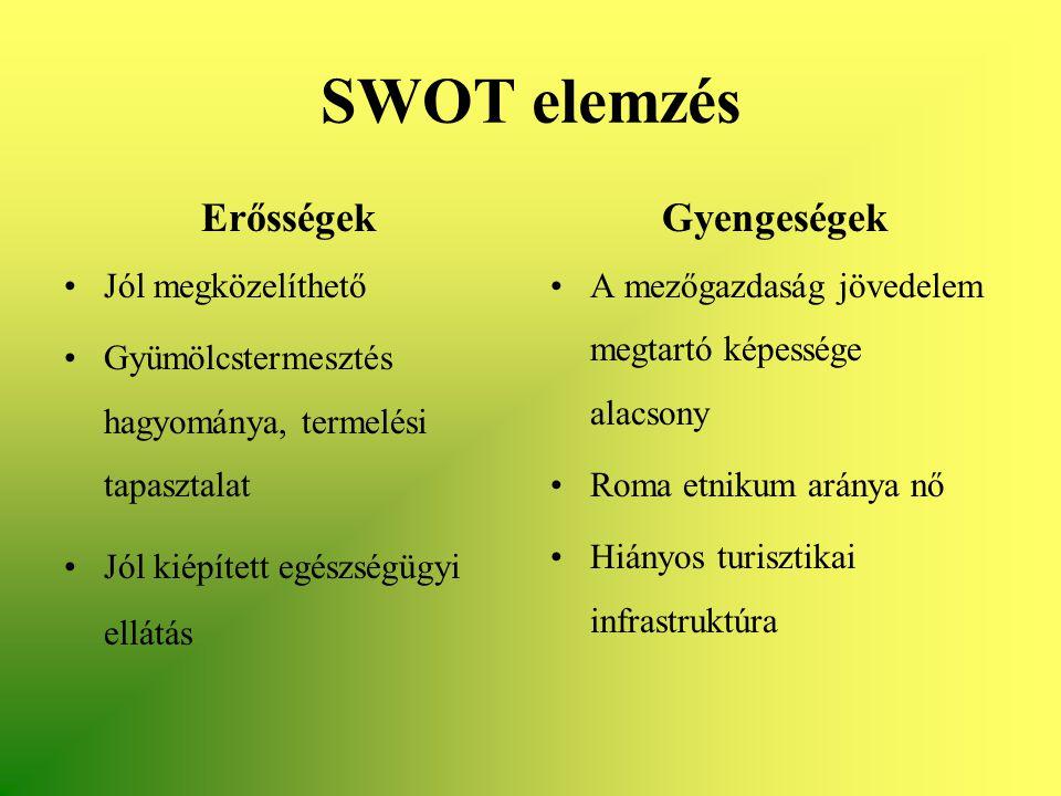 SWOT elemzés Erősségek •Jól megközelíthető •Gyümölcstermesztés hagyománya, termelési tapasztalat •Jól kiépített egészségügyi ellátás Gyengeségek •A me