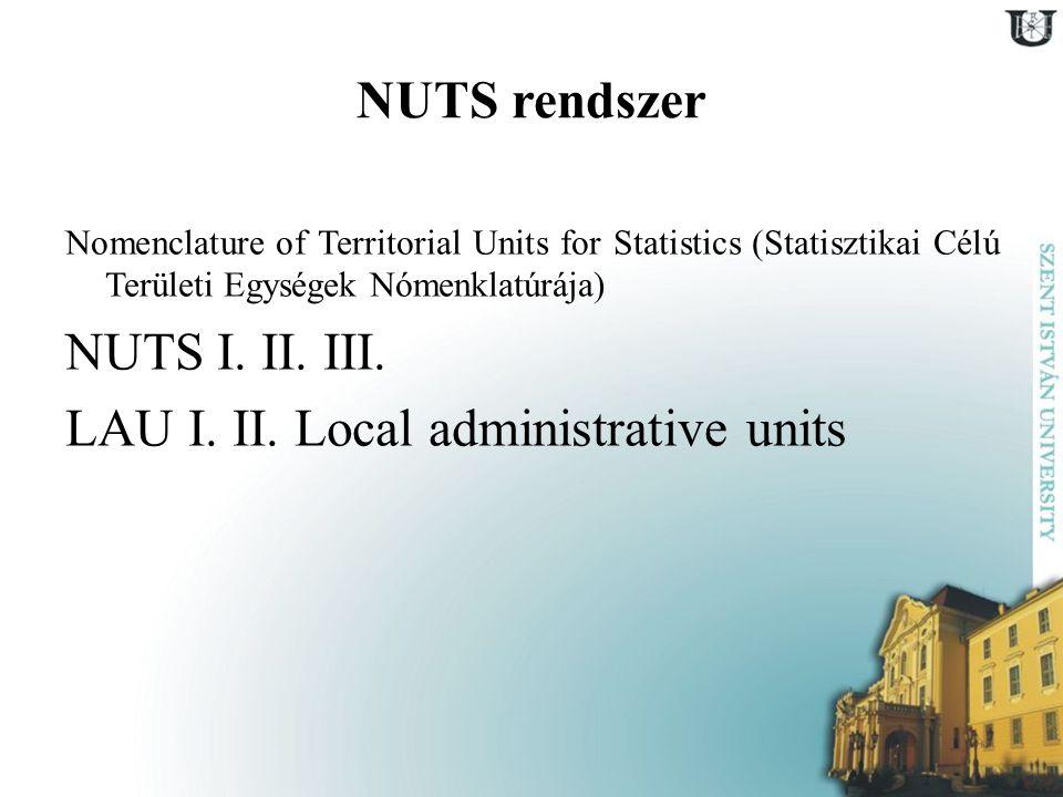 NUTS rendszer Nomenclature of Territorial Units for Statistics (Statisztikai Célú Területi Egységek Nómenklatúrája) NUTS I. II. III. LAU I. II. Local
