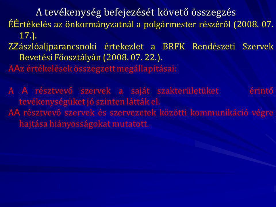 A tevékenység befejezését követő összegzés É É rtékelés az önkormányzatnál a polgármester részéről (2008.