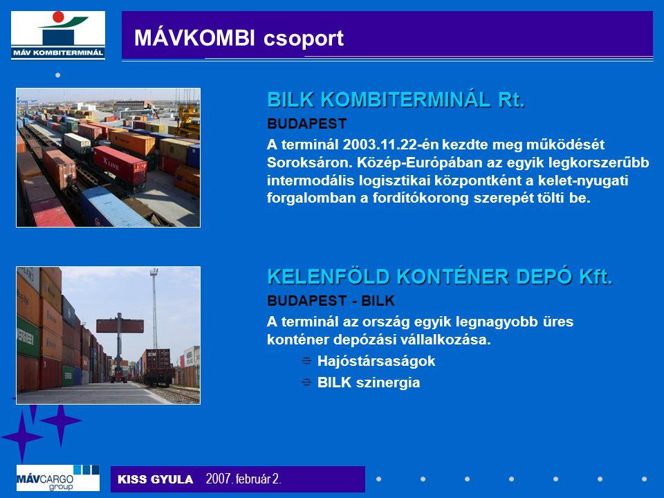 KISS GYULA 2007. február 2. BUDAPEST A terminál 2003.11.22-én kezdte meg működését Soroksáron. Közép-Európában az egyik legkorszerűbb intermodális log