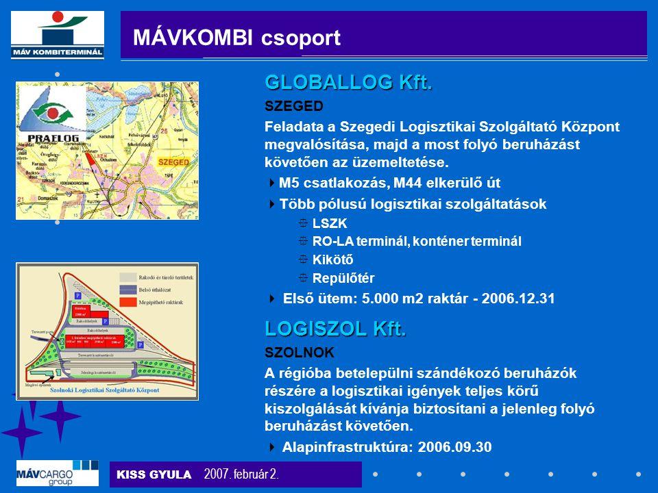 KISS GYULA 2007. február 2. SZOLNOK A régióba betelepülni szándékozó beruházók részére a logisztikai igények teljes körű kiszolgálását kívánja biztosí